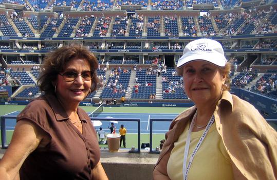 Dina Moscowitz (R) with friend in suite 136.