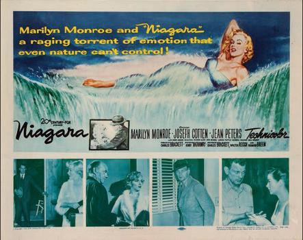 "A poster for the 1953 film ""Niagara"" with Monroe posing at the top. It sold for $1,500."