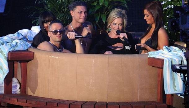 The Jersey Shore's Michael 'The Situation' Sorrentino, Nicole 'Snooki' Polizzi, Paul 'DJ Pauly D' DelVecchio and Jenni 'JWoww' Far with Livingston, NJ native Chelsea Handler (second from right)