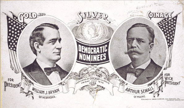 1896 Bryan and Sewall Presidential Election Broadside