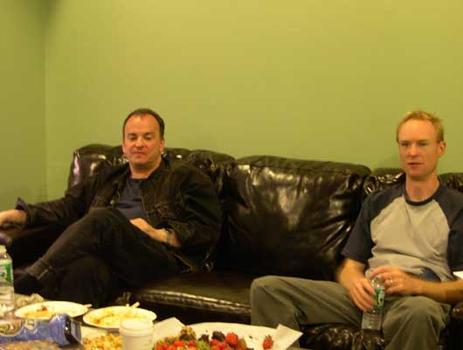 <strong>Composer and guitarist Phil Kline hangs out in the GREEN room with host John Schaefer before the performance, 9/28/04.</strong>