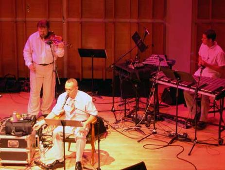 <strong>The Zippo Band: Todd Reynolds, violin, Theo Bleckmann , vocals and effects, David Cossin, percussion, 9/28/04</strong>