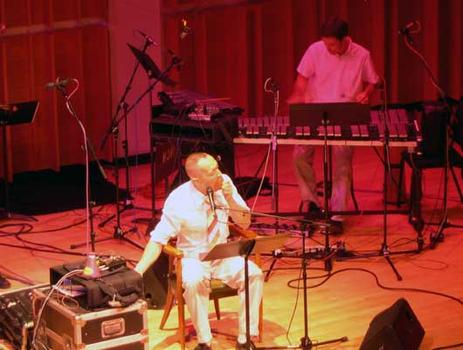 <strong>Theo Bleckmann, vocals and plunger eating, with percussionist David Cossin, 9/28/04.</strong>