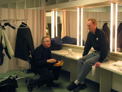 <strong>Bill Frisell with caffeine and sugar (product placement!) chats with John Schaefer in the dressing room, 1/15/04. </strong>