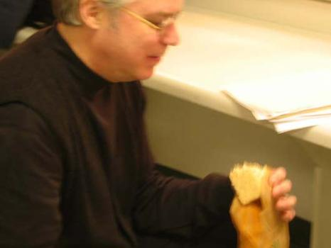 <strong>Bill Frisell with rice krispie treat, 1/15/04.</strong>