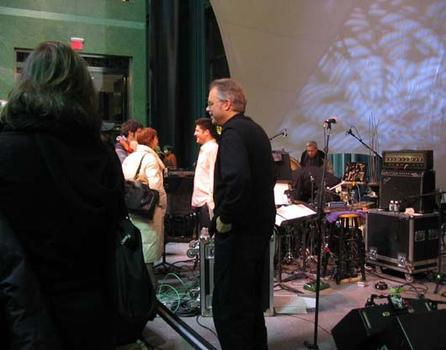 <strong>Bill Frisell talks with fans after the films, 1/15/04.</strong>