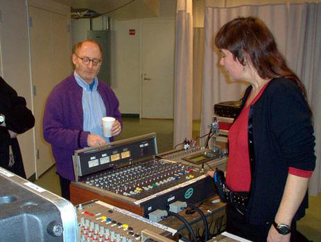 <strong>Composer Aaron Jay Kernis and WNYC engineer Irene Trudel, 12/9/03.</strong>