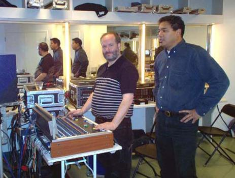 <strong>WNYC engineers Ed Haber and George Wellington, 10/23/03.</strong>