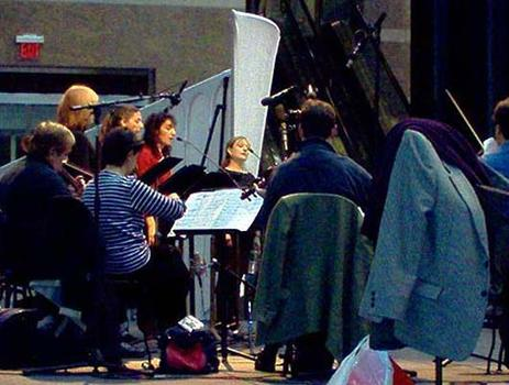"<strong>Anonymous 4 and the Chilingirian String Quartet rehearse the Tavener work ""The Bridegroom,"" 10/23/03.</strong>"