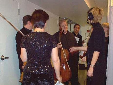 <strong>Members of the Chilingirian String Quartet about to go on stage, 10/23/03.</strong>