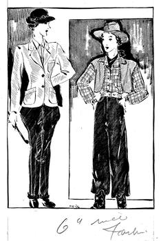 Artist Myrtle Edwards sketched department store fashions for the New York Herald Tribune in the 1930s.