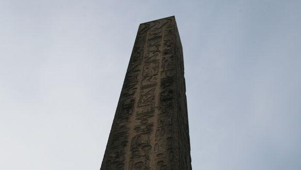 The hieroglyphs are still intact on this face of the monument.