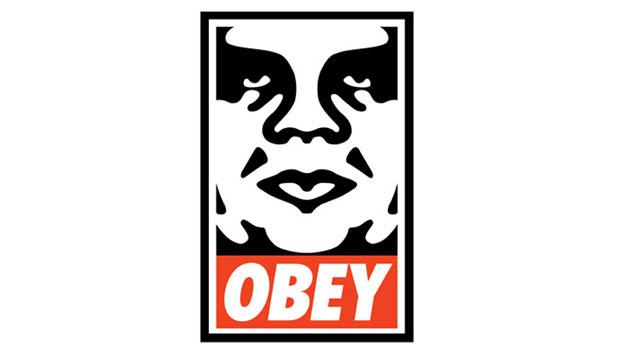 "Recognize this? One of Fairey's most recognizable ""Obey"" works has been stenciled around town."