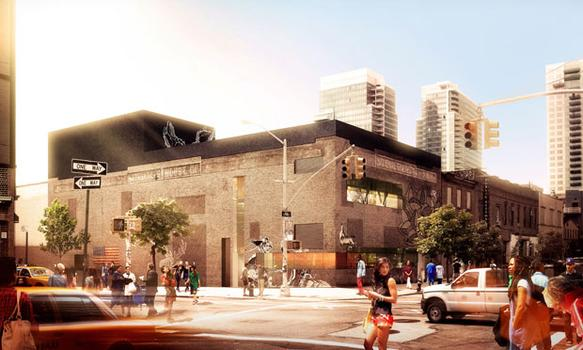 A rendering of the new Original Music Workshop studio and performance space by day.