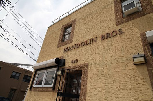 The exterior of Mandolin Brothers in Staten Island.