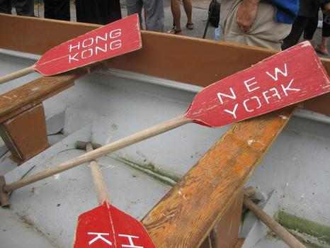 Paddles used by rowers to race the 38-foot-long boats