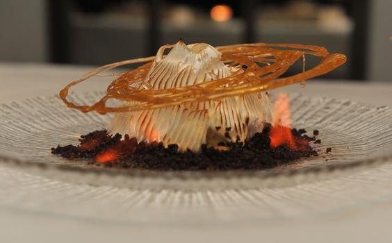 """Volcano Flambé"" is inspired by the flavors of the classic dessert, Baked Alaska."