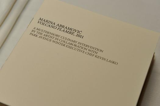The dessert is served with a booklet of poems by Marina Abramovic, which diners can take home.