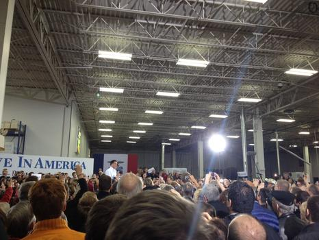 Mitt Romney at a rally in Clive, Iowa.
