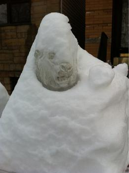 A snow covered statue near the Astoria Kaufman Studios in Astoria, Queens on January 27, 2011.