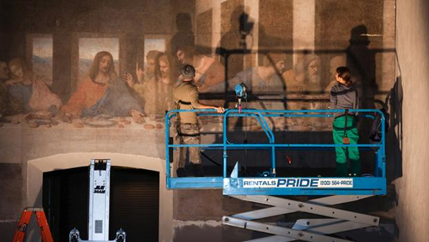 "Conservators retouch ""Leonardo's Last Supper"" in preparation for the opening at the Park Avenue Armory."