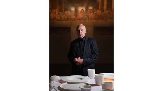 "Artist Peter Greenaway in front of his multimedia installation ""Leonardo's Last Supper: A Vision By Peter Greenaway."""