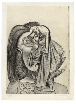 "Picasso's print ""La femme qui pleure,"" which was thought to sell for between $1.5 and $2.5 million, sold for $5,122,500, a record amount at auction for a single print."