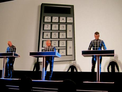 "Kraftwerk on Saturday performing ""Pocket Calculator,"" their big hit from ""Computer World."""