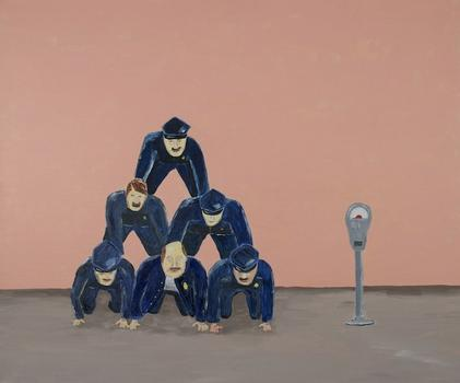 Sola's paintings regularly channel non-existent moments of absurdity, such as 'Police Pyramid,' from 2011.