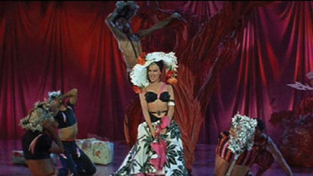 "Monroe's ""Vicky"" tropical print pink, black and white skirt, black halter top and hat from the ""Heat Wave"" number in ""There's No Business Like Show Business"" from 1954."