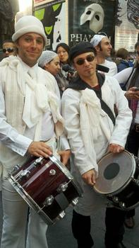 Drummers at the protest in Times Square.
