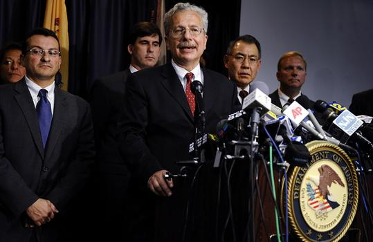 Acting U.S. Attorney Ralph J. Marra, Jr. at a news conference.