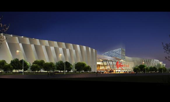 A rendering of the proposed convention center in Queens.