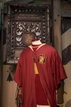 "A Gryffindor quidditch robe worn by Oliver Wood in ""Harry Potter and the Chamber of Secrets."""