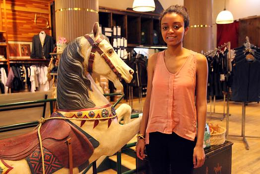 Rahel Araya, sales associate at Manhattan Saddlery.
