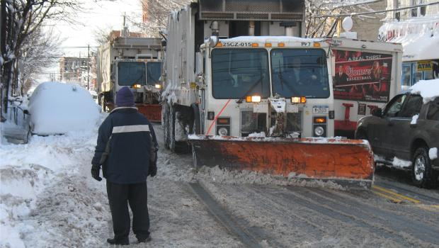 A city snow plow clears the streets of Red Hook, Brooklyn on January 27, 2011.