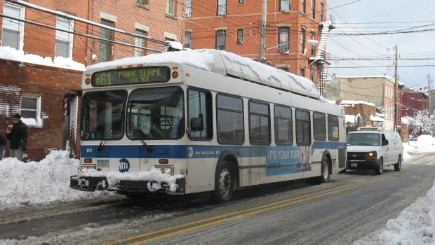 Buses got running in Red Hook on Thursday.