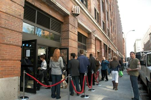 Audience members outside Re:Mix Lab, a pop-up art and technology gallery at Chelsea Market