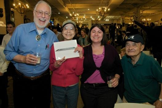 The happiest iPad winner on earth. Ever. Congratulations -- and thanks to everyone for a great party!