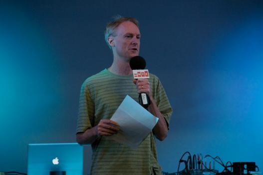 Soundcheck host John Schaefer on stage at Re:Mix Lab