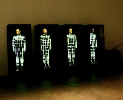 Visitors to MoMA's lobby were greeted by the animatronic Kraftwerk