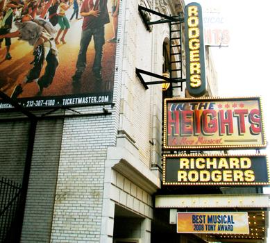 The Richard Rodgers Theatre on 46th Street. Rodgers worked with Oscar Hammerstein to write <em>The Sound of Music</em> and <em>South Pacific</em>.