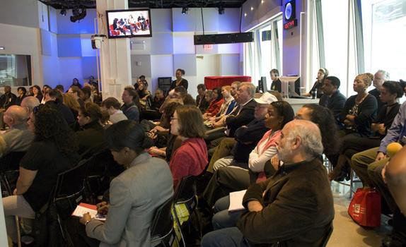 The audience included community leaders from all five boroughs.