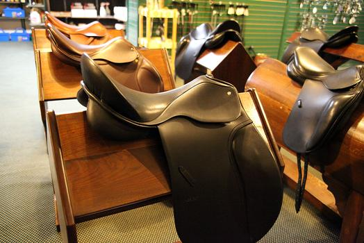 Saddles at Manhattan Saddlery.