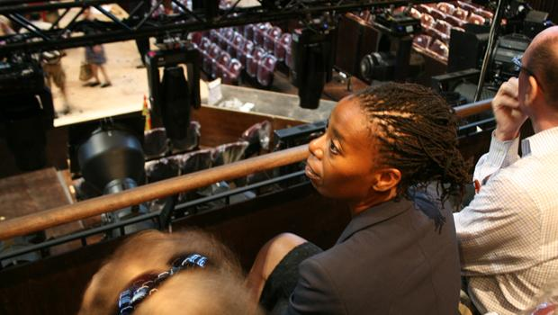 Royal Shakespeare Company member Norma Dumezweni gets a look at the stage inside the Park Avenue Armory.