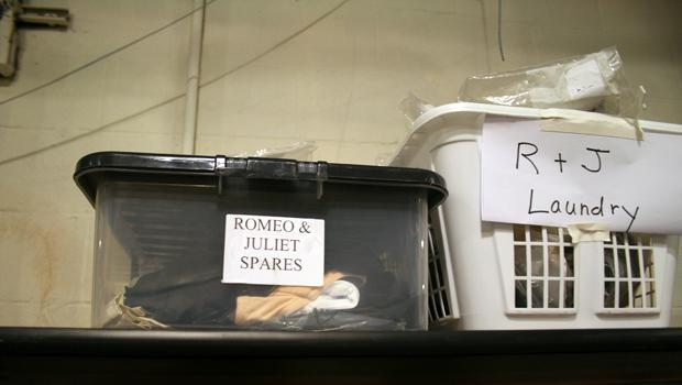 "Laundry and ""spares"" for a performance of ""Romeo and Juliet"" by the Royal Shakespeare Company at the Park Avenue Armory, June 30 2011."