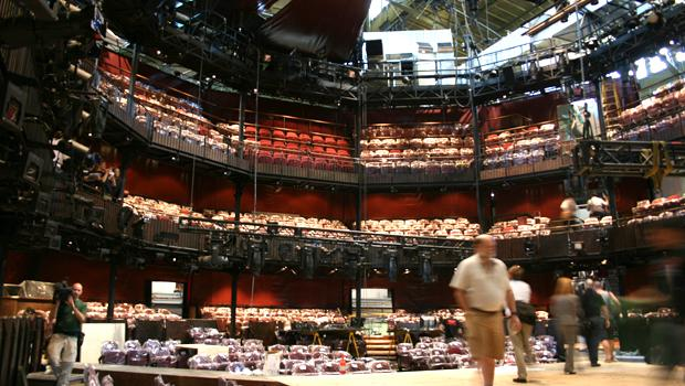"""The """"thrust"""" stage brings the action out into the audience at the Royal Shakespeare Company's six-week engagement at the Park Avenue Armory."""