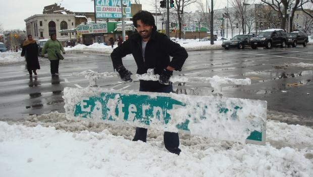 It looks like this sign at Eastern Parkway and Bedford fell down during the January 27, 2011 snow storm.