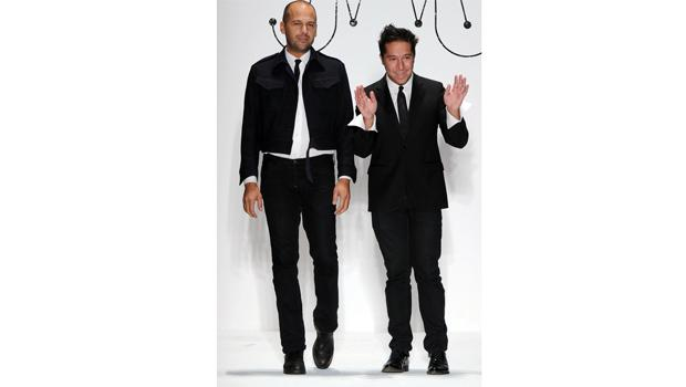 Designers Brian Wolk and Claude Morais walk the runway at the Ruffian Spring 2011 fashion show during Mercedes-Benz Fashion Week at The Studio at Lincoln Center on September 9, 2010 in New York City.
