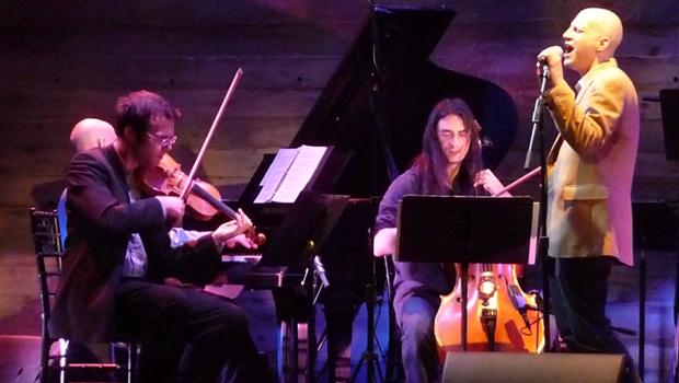 Corey Dargel with members of the International Contemporary Ensemble (ICE) performed at Galapagos in DUMBO on May 21.